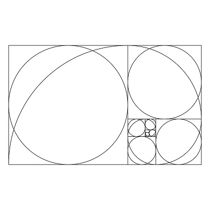 Golden ratio template with proportional circles