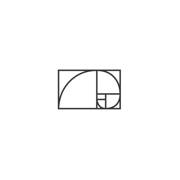 golden ratio traditional proportions vector icon  fibonacci spiral - сетка фибоначчи stock illustrations