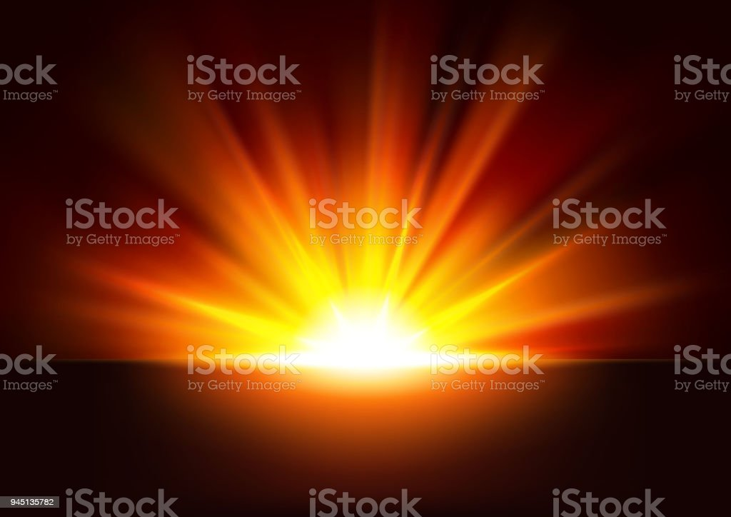 golden rays rising on dark background vector illustration royalty free golden rays rising on