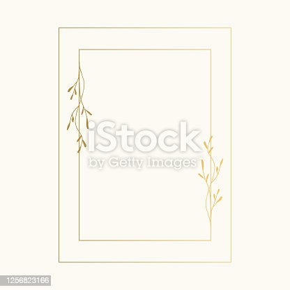 istock Golden rectangular frame with hand drawn herbs. Wedding ornate illustration. Vector. 1256823166