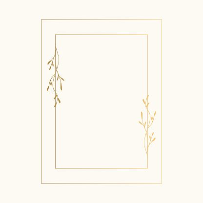 Golden rectangular frame with hand drawn herbs. Wedding ornate illustration. Vector.