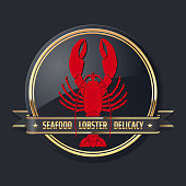 noble glossy golden delicacy or seafood vector lobster badge