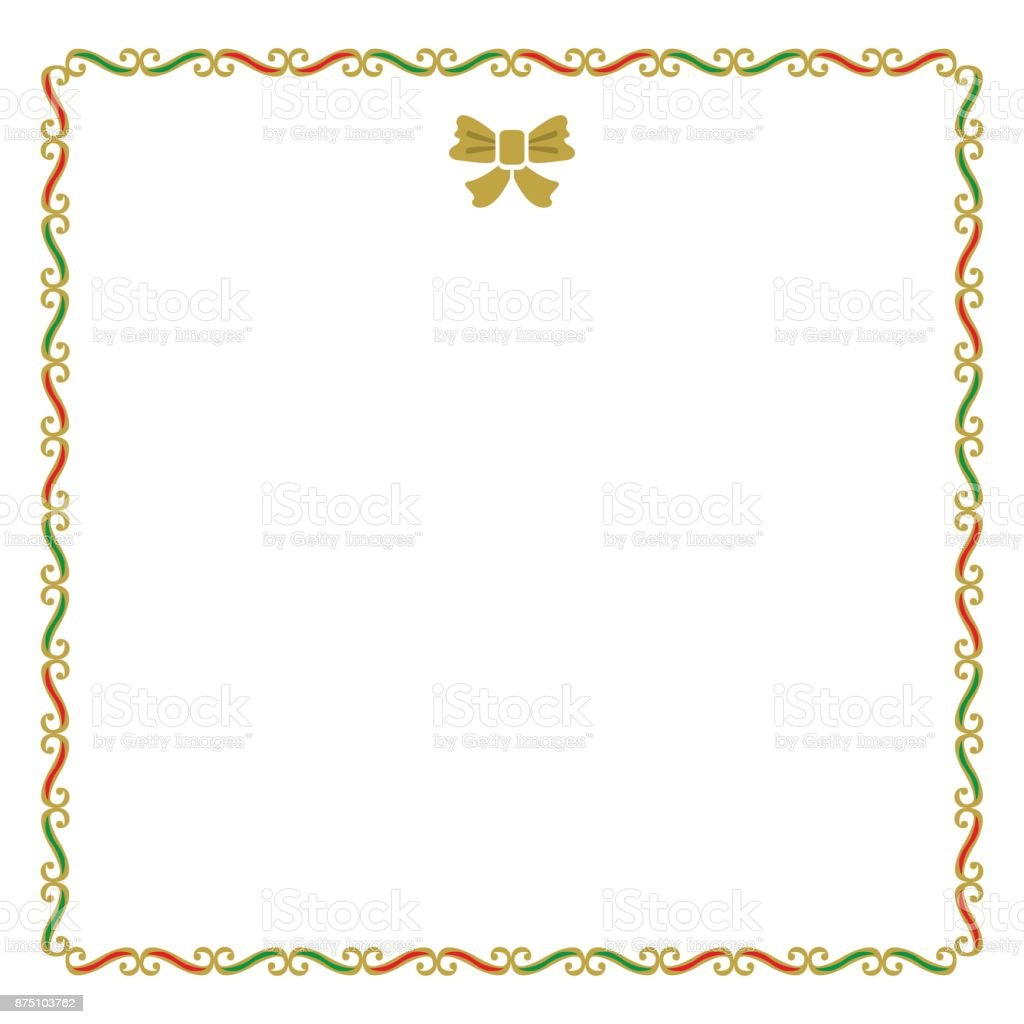 Christmas Notecard.Golden Red And Green Empty Christmas Border Note Card On White
