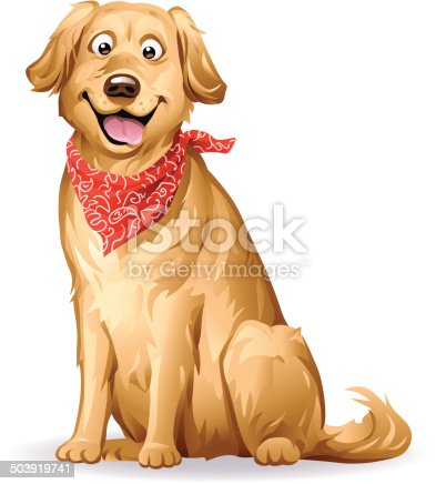 A cute Golden Retriever with a red neckerchief sitting in front of white background. EPS 8.