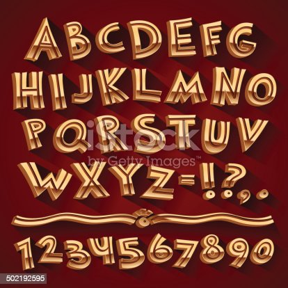Golden Retro 3D Font with Strips on Red Background. Clipping paths included in additional jpg format.