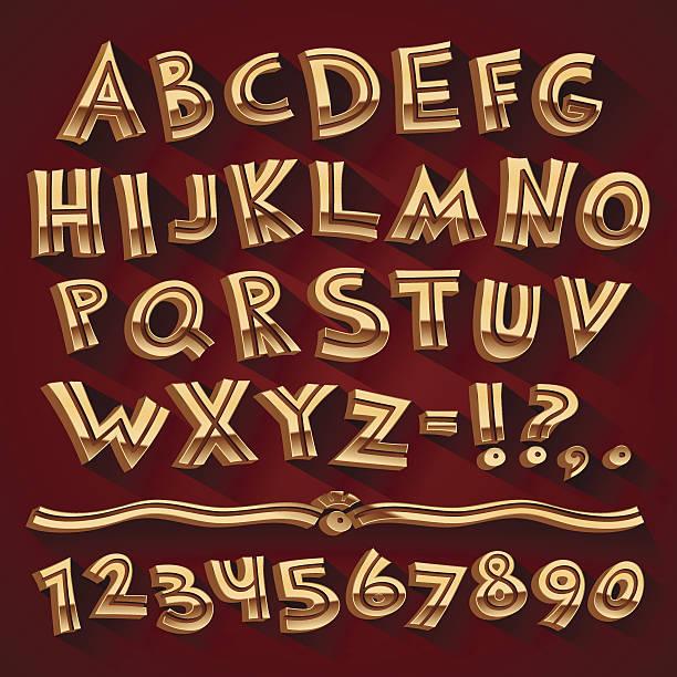 stockillustraties, clipart, cartoons en iconen met golden retro 3d font with strips on red background - antiek toestand