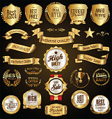 Golden retro sale badges and labels vector collection