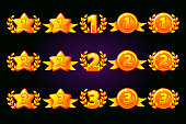 Vector Golden rewards icons set. 1st, 2nd, 3rd place different variation. Laurel wreath of victory and gold star or game, ui, banner, app, interface, slots, game development. Icons on a separate layer