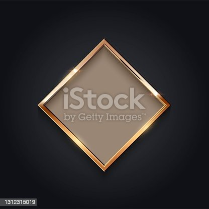 istock Golden rhombus frame for picture on gray background. Blank space for picture, painting, card or photo. 3d realistic modern template vector illustration. Simple gold object on wall. 1312315019