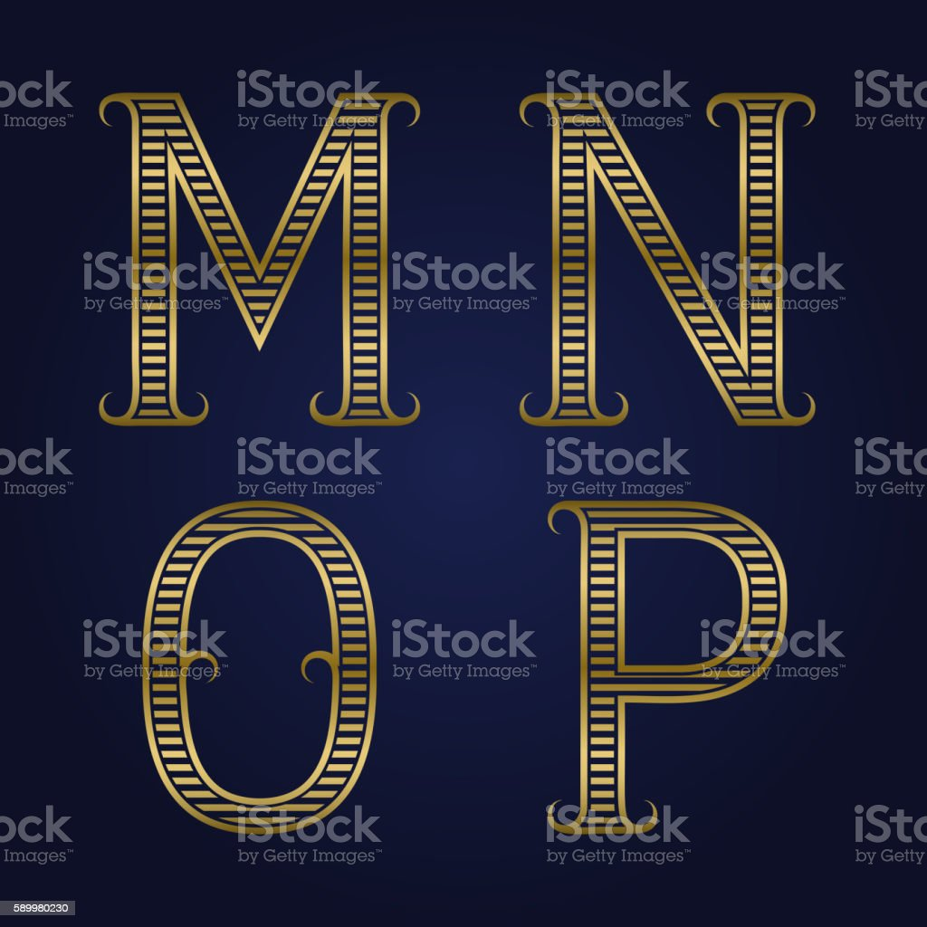 M, N, O, P golden ribbed letters with flourishes. Horizontal stripes...