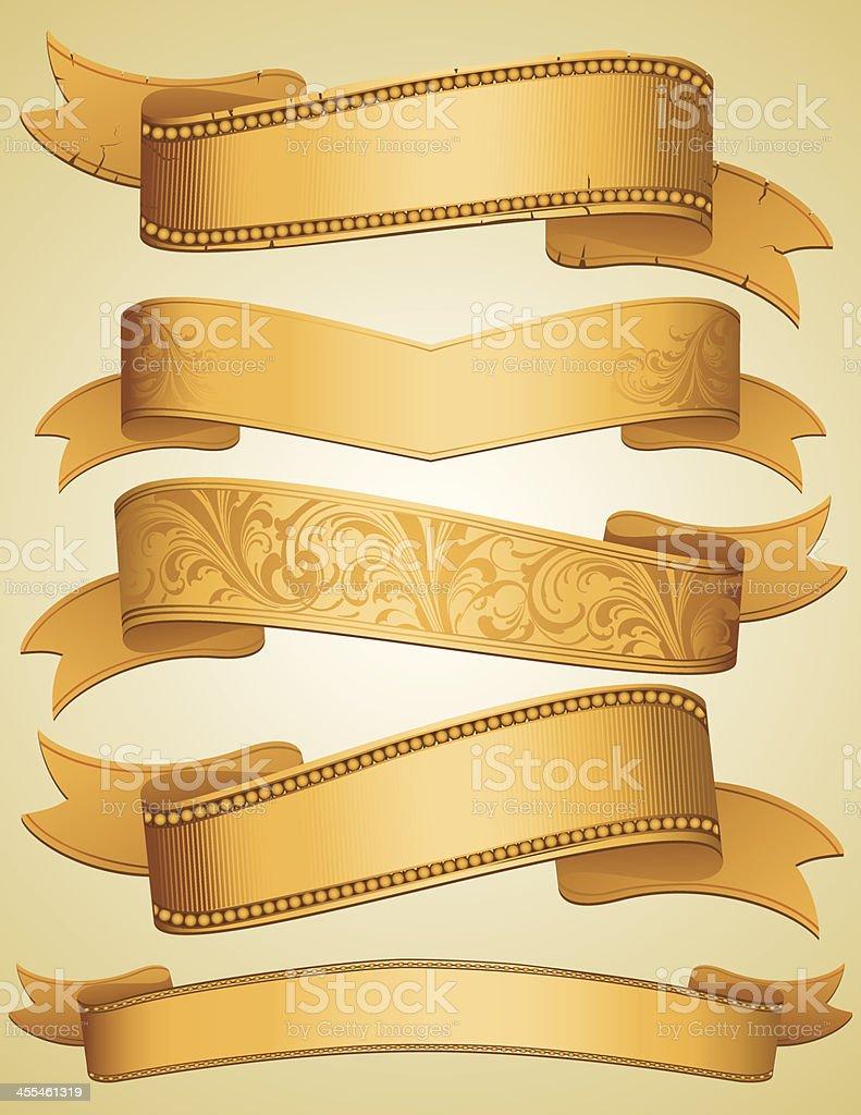 Golden Ribbon Banners set royalty-free stock vector art