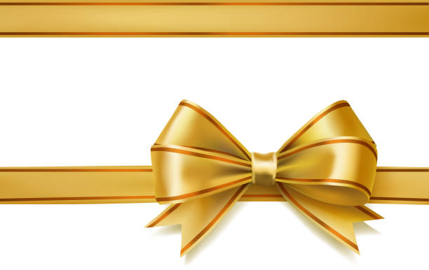golden ribbon bow vector art illustration
