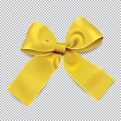 Golden ribbon on transparent background