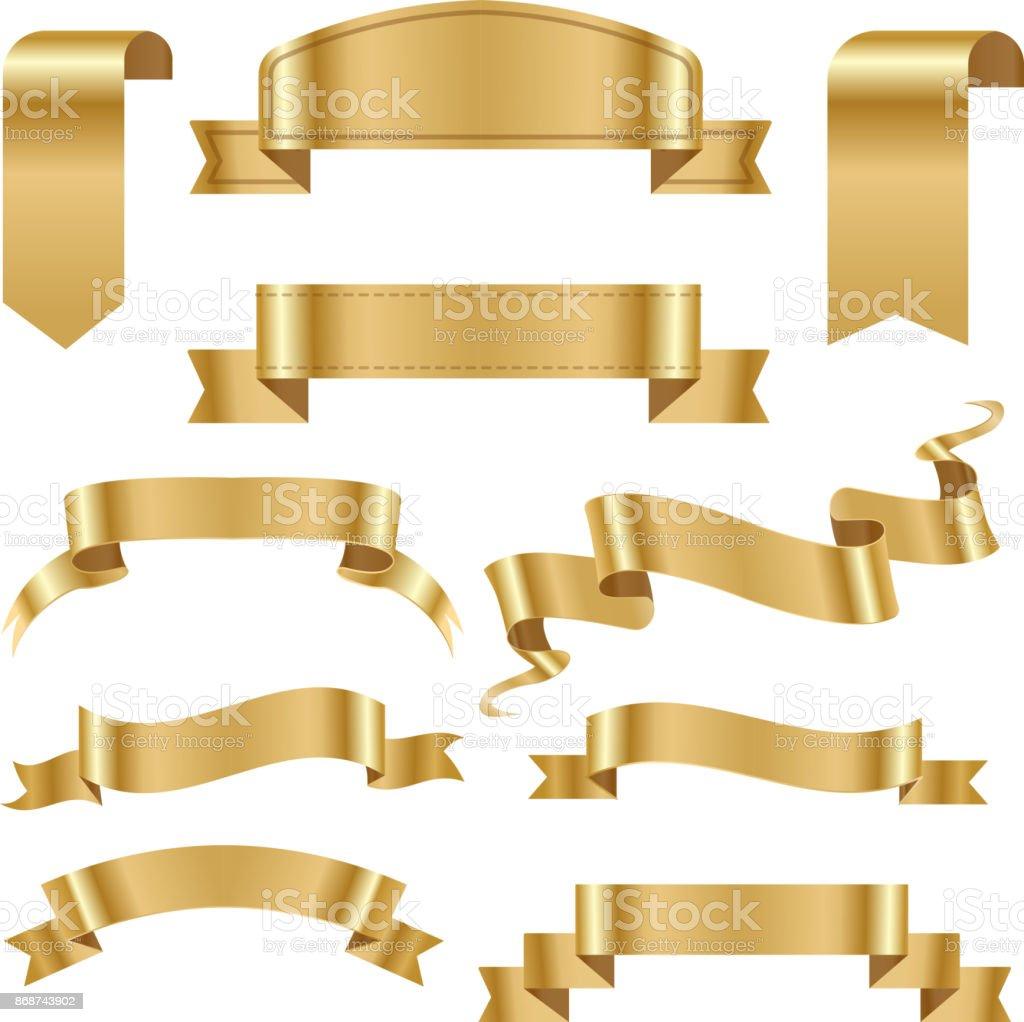 Golden ribbon tape banner flag bow classic glossy scroll vector illustration