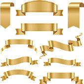 Realistic gold vector ribbons tape flag set banner with stitch detailing for your design project. Shiny bow decorative elegance graphic template. Xmas classic glossy scroll.