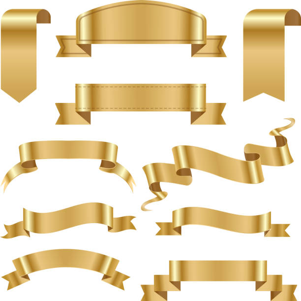 golden ribbon tape banner flag bow classic glossy scroll vector illustration - gold stock illustrations