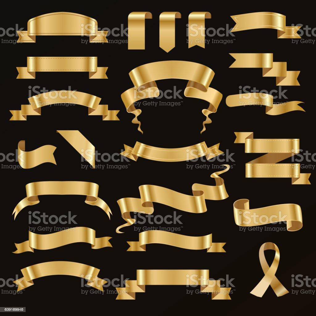 Golden ribbon vector illustration. vector art illustration