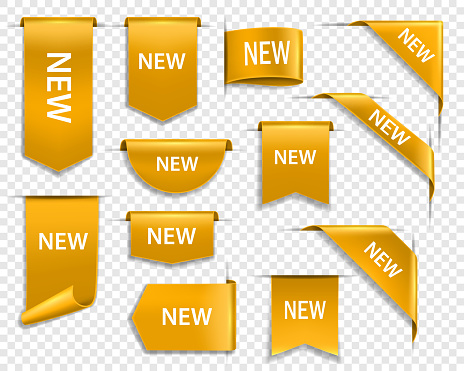 Golden ribbons, banners and labels, new tag vector