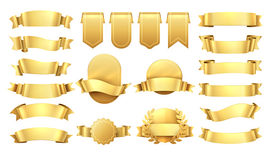 Golden ribbons. Shiny old labels, wave banner elements, promotion retro decoration, yellow price sale. Realistic vector gold ribbon