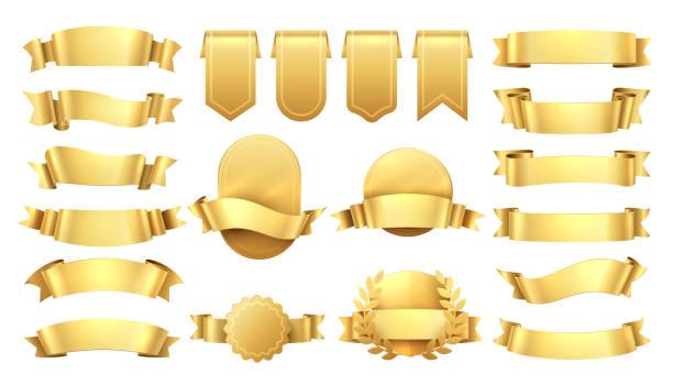 goldene bänder. glänzende alte etiketten, wellenbanner-elemente, werbe-retro-dekoration, gelber preisverkauf. realistisches vektorgold - banneranzeige stock-grafiken, -clipart, -cartoons und -symbole