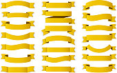 21 Yellow - gold ribbons on white background, horizontal banners set, vector eps10 illustration