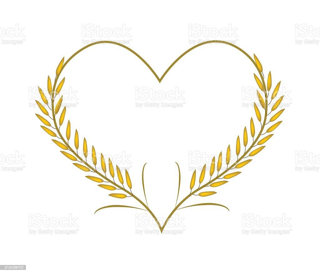 Golden Rice or Jasmine Rice in A Heart Shape vector art illustration