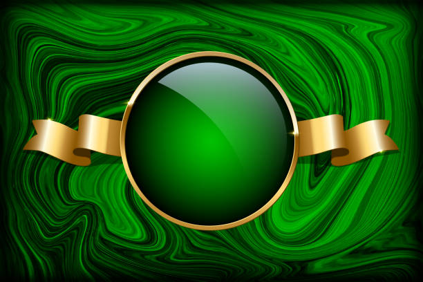 Golden ring and ribbon on green malachite background. Vector luxury design template. Golden ring and ribbon on green malachite background. Vector luxury design template. malachite stock illustrations