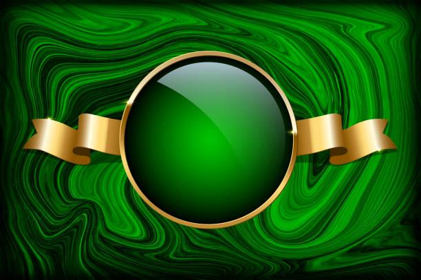 stockillustraties, clipart, cartoons en iconen met gouden ring van rusland en lint op groen malachiet achtergrond. vector luxe ontwerpsjabloon. - malachiet