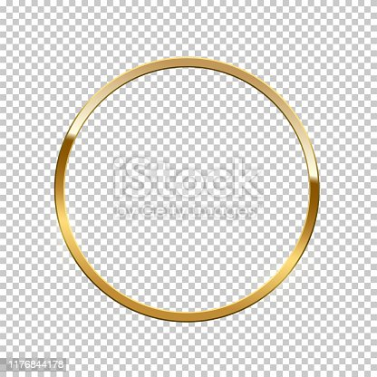 Golden ring isolated on transparent background. Vector golden frame