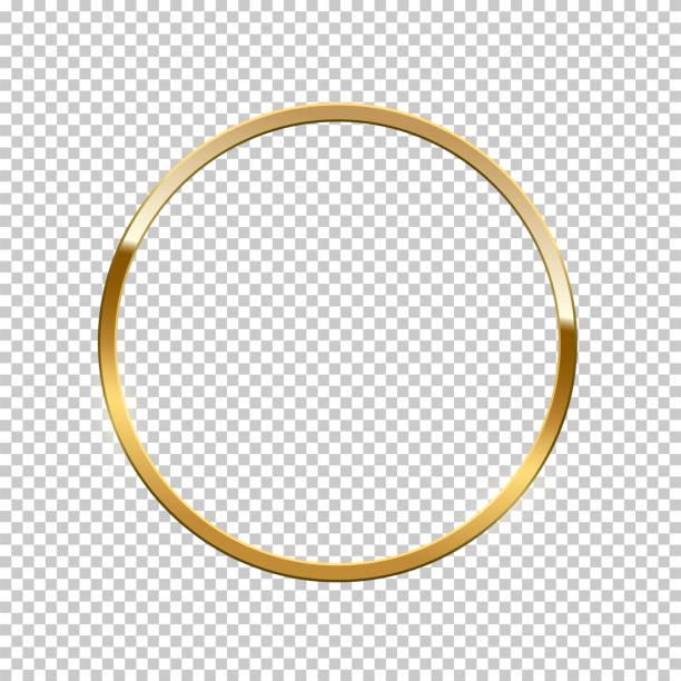 illustrations, cliparts, dessins animés et icônes de anneau d'or d'isolement sur le fond transparent. cadre d'or de vecteur. - bague