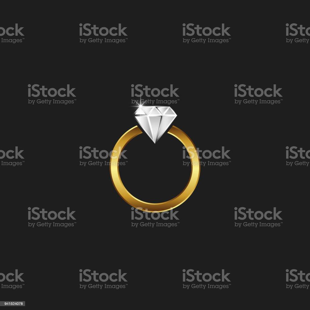Un Anillo De Oro Con Un Logotipo De Diamante Una Joya Brillante En ...