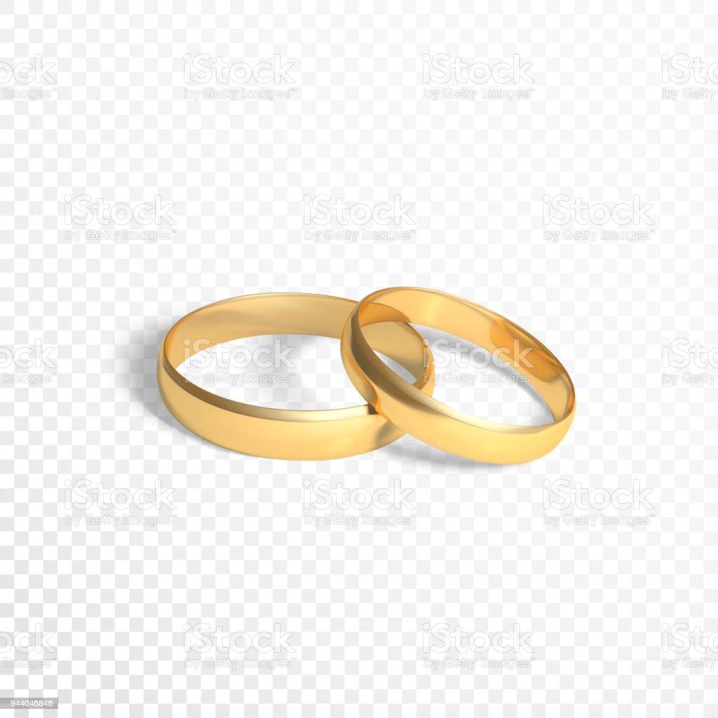 Goldene Ringe Symbol Der Ehe Zwei Goldene Ringe Vektorillustration ...