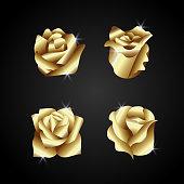 golden rose flower vector. luxury flower ornament. shiny gold color