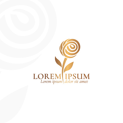 Golden rose vector emblem. Elegant, classic elements. Can be used for jewelry, beauty and fashion industry. Great for logo, monogram, invitation, flyer, menu, background, or any desired idea.