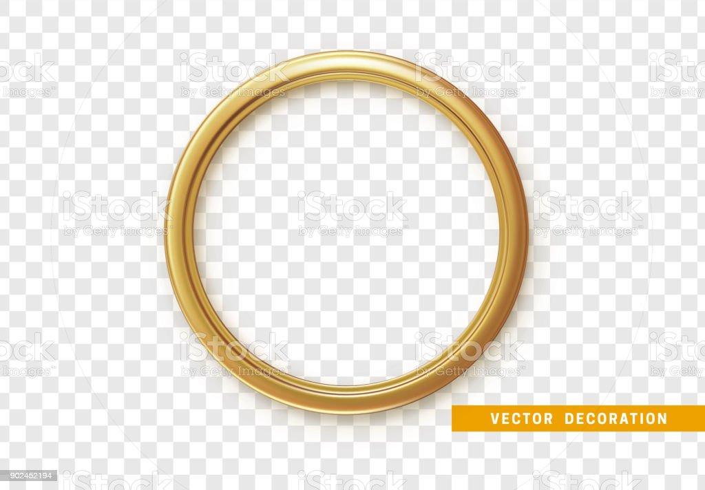 Golden round frame isolated on transparent background vector art illustration
