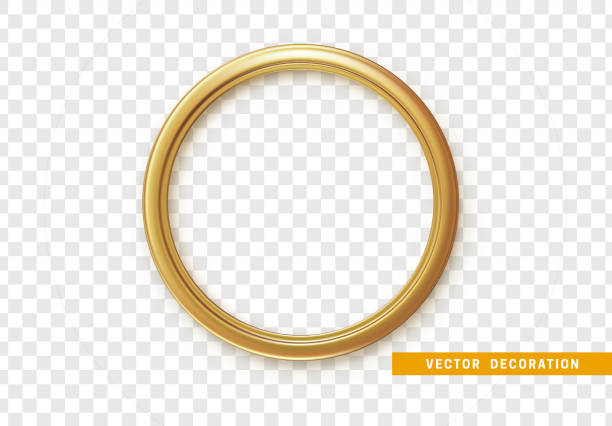illustrazioni stock, clip art, cartoni animati e icone di tendenza di golden round frame isolated on transparent background - turno sportivo