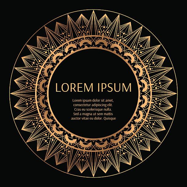 golden round frame with black background vector - stoffmarkt stock-grafiken, -clipart, -cartoons und -symbole