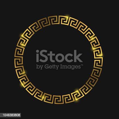 istock Golden round greek frame for design 1046383808