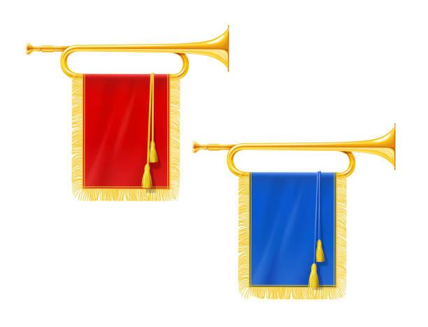 royal golden horn trompete mit blauen und roten banner. musikinstrument für könig orchester. - fanfare stock-grafiken, -clipart, -cartoons und -symbole