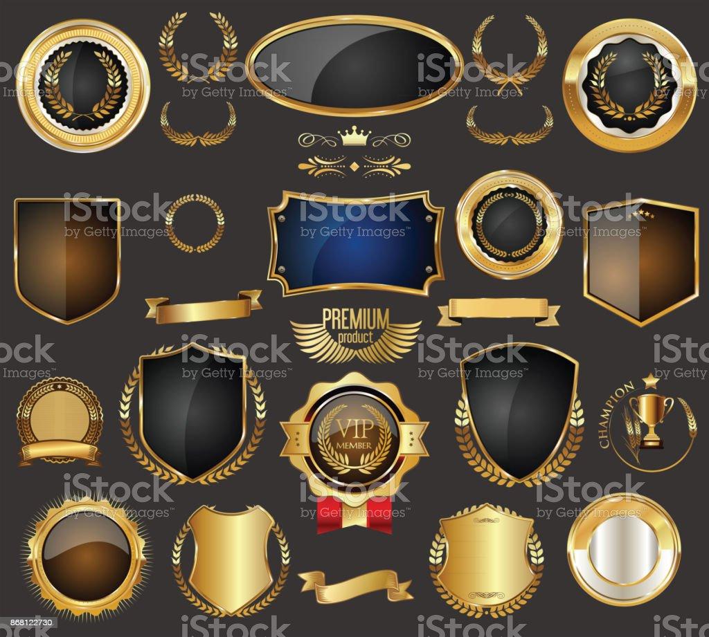 Golden sale frame badge and label vector collection vector art illustration