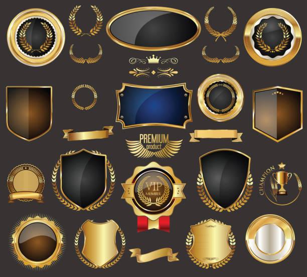 ilustrações, clipart, desenhos animados e ícones de ouro venda quadro distintivo e rótulo vector coleção - botões de bandeiras