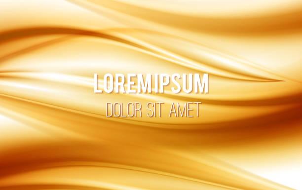 ilustraciones, imágenes clip art, dibujos animados e iconos de stock de olas de seda, de raso dorado. fondo amarillo, ilustración vectorial - fondos de seda