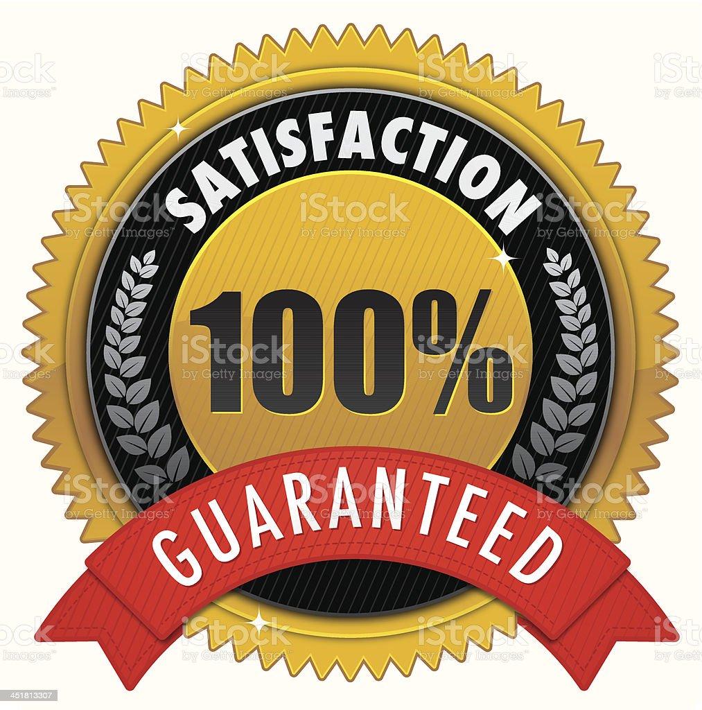 Golden satisfaction badge vector art illustration