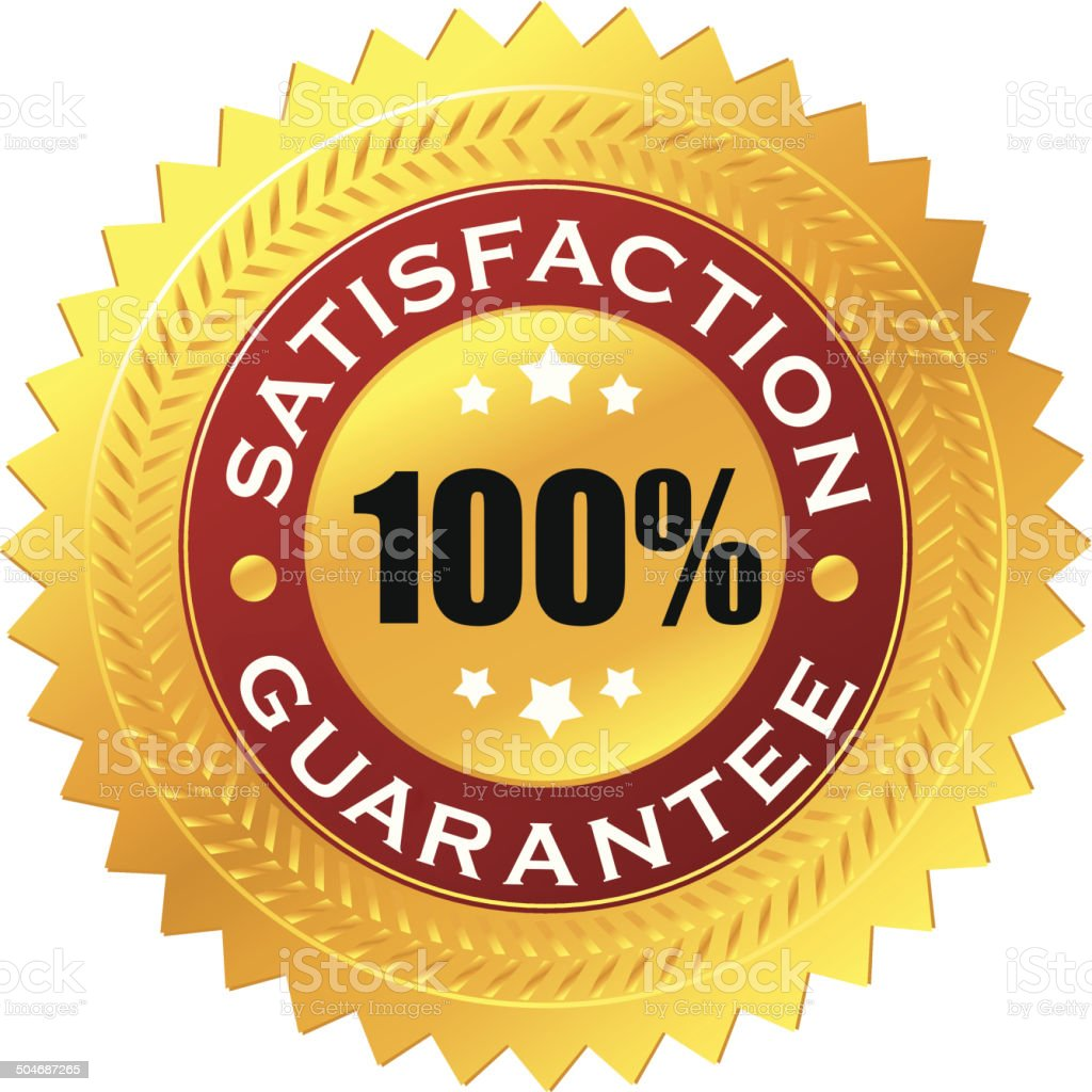 Golden satisfaction badge vector art illustration