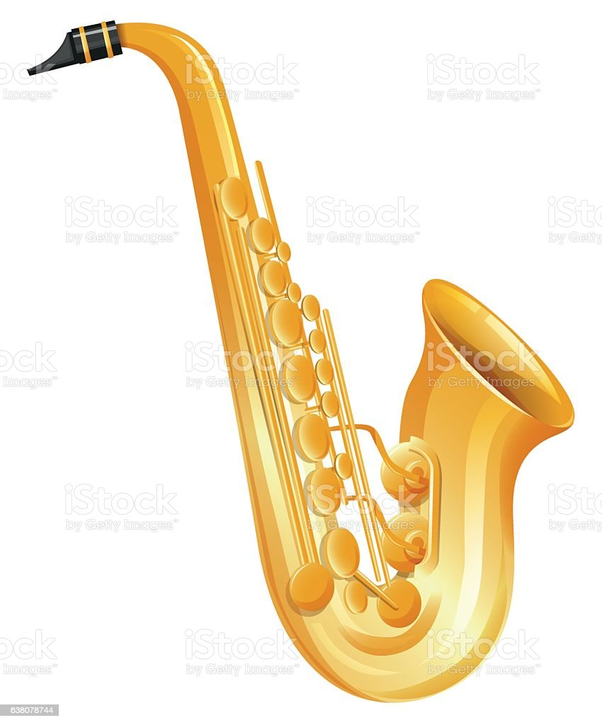 Golden saxophone on white background vector art illustration
