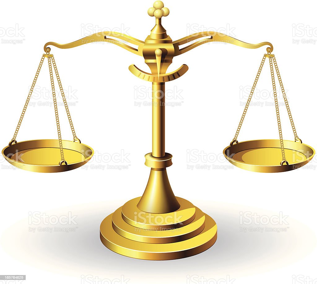 Golden Scale of Justice vector art illustration