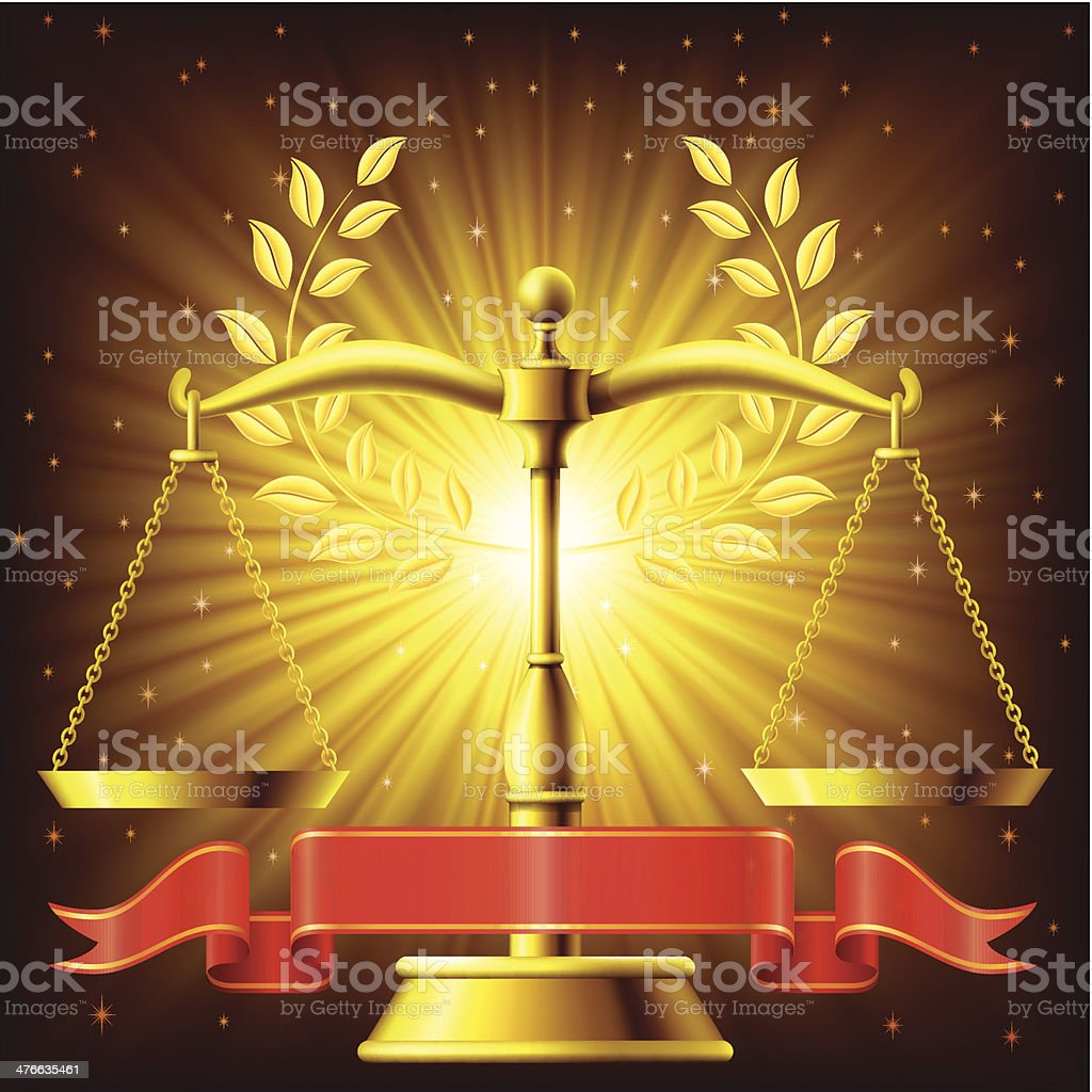 Golden Scale of Justice royalty-free stock vector art