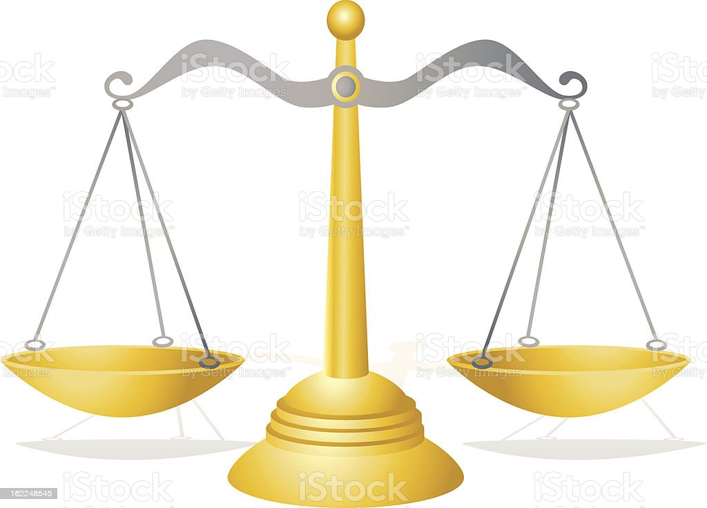 Golden Scales of Justice royalty-free stock vector art