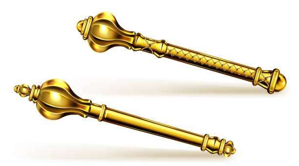 illustrations, cliparts, dessins animés et icônes de sceptre d'or pour roi ou reine, baguette royale. - sceptre