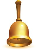 Golden school retro bell isolated on white